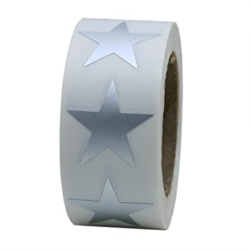 Hybsk(TM) Silver Metallic Foil Star Shape Paper Sticker Packaging Seals  Total 500 Labels Per Roll (1 Roll)