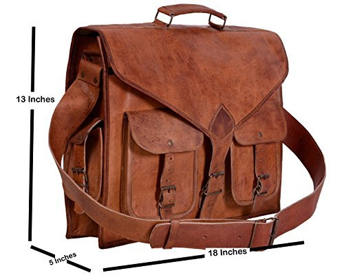 18 inch Leather Messenger Bag for Laptop (18''x5''x13'')By Silkroute Craft by Silkroute Craft