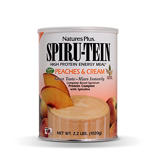 NaturesPlus SPIRU-TEIN Shake – Peaches Cream Flavor – 2.2 lbs, Spirulina Protein Powder – Plant Based Meal Replacement, Vitamins Minerals for Energy – Vegetarian, Gluten-Free – 30 Servings