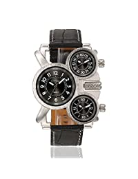 OULM Men's Sprot Travel Multi Times Zone Three Time Display Irregular Shape Quartz Warist Watches-Black