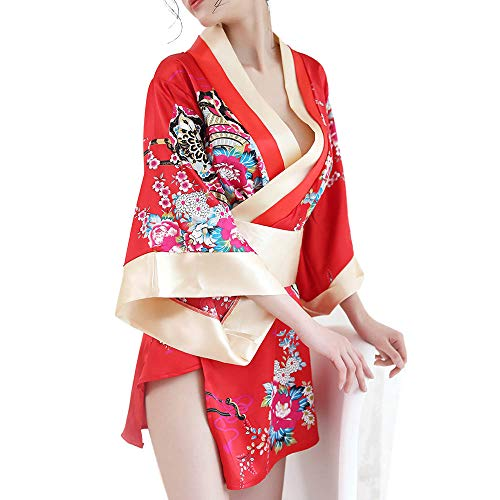 - Short Kimono Robe Adult Sexy Floral Deep V-Neck Satin Nightwear Bathrobe Japanese Outfit Red