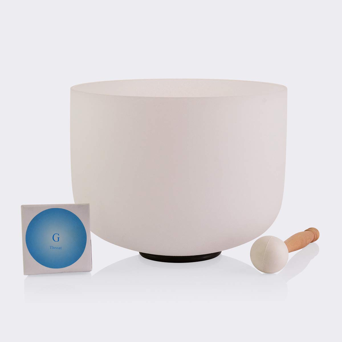 TOPFUND Singing Bowls 432Hz G Note Crystal Singing Bowl Throat Chakra 8 inch (O ring and rubber mallet Included)