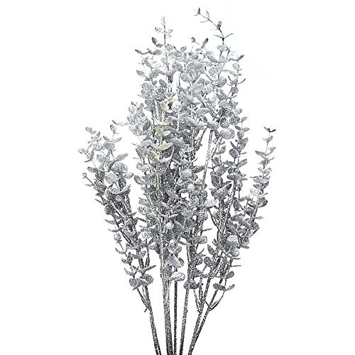 Factory Direct Craft Silver Glittered Vinyl Leaf Bush for Christmas and Home Decor