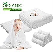 Baby Towel Muslin Baby Bath Towels - Natural Antibacterial, Water Absorbent, 100% Cotton Bath Towels of 6 layers + 5pcs Pure Cotton Face Bath Towels, Super Soft Cotton Gauze for Baby's delicate Skin