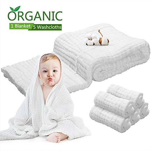 Baby Towel Muslin Baby Bath Towels - Natural Antibacterial, Water Absorbent, 100% Cotton Bath Towels of 6 layers + 5pcs Pure Cotton Face Bath Towels, Super Soft Cotton Gauze for Baby's delicate Skin by PB PEGGYBUY