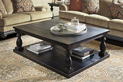 Mallacar Black Color Casual Rectangular Cocktail Table