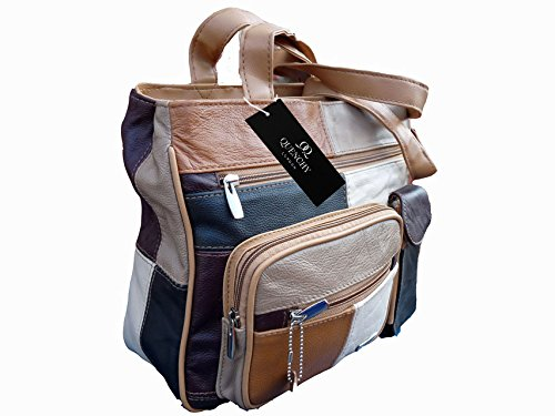 7bags Damen Handtasche italienisches Leder, Patchwork