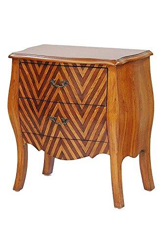 Heather Ann Creations Bombay Series Premium Wood 2 Drawer Bombay Shaped Storage Cabinet, Wood/Chevron Stripe (2 Drawer Bombe Chest)