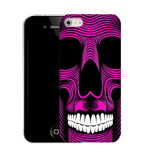 Mobile Case Mate IPhone 5S clip on Silicone Coque couverture case cover Pare-chocs + STYLET - pink skull teeth pattern (SILICON)