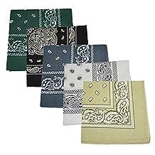 Set of 5 Large Cotton Paisley Bandanas - Sand Grey White Hunter Green Black Dark Grey
