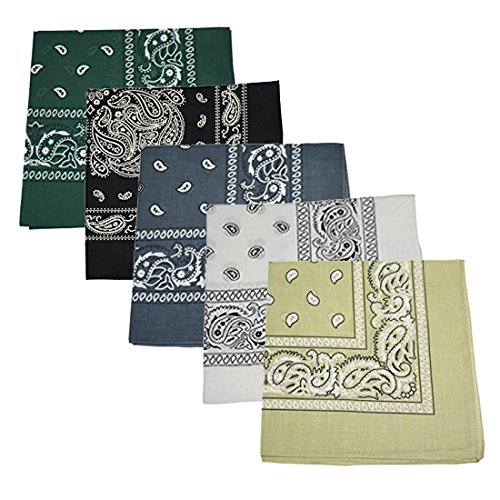 White Sand Greens - Motique Accessories Set of 5 Large Cotton Paisley Bandanas - Sand Grey White Hunter Green Black Dark Grey
