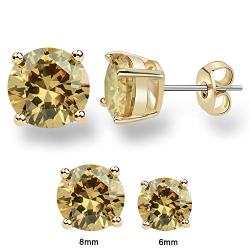 - MissDa 14K Yellow Gold Plated, Yellow Champagne color 6/8MM Cubic Zirconia, Stainless Steel Surgical Post Women Stud Earring