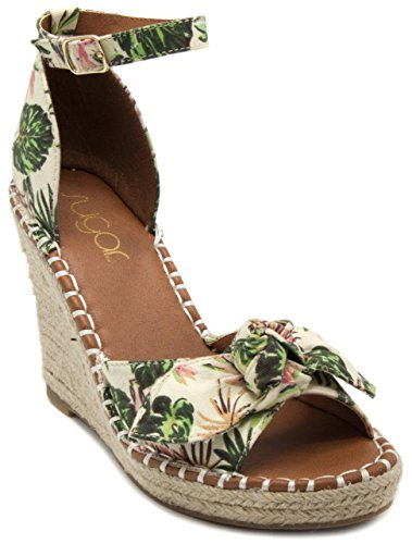 Rampage Women's Hayna Espadrille Wedge 10 Natural Palm Canvas - Palm Wood Elastic