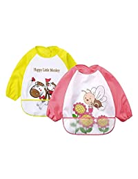 Baby bibs 2 Pack-Unisex Baby Sleeved Bibs Cartoon Waterproof Smock for 6 Months-3 Years Infant Toddler,Girl
