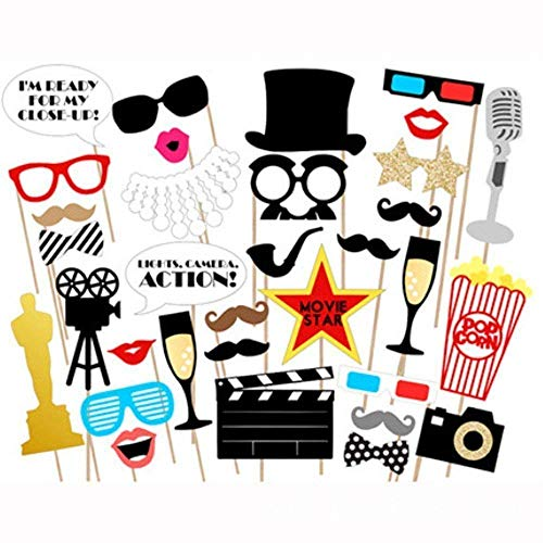 Hollywood Party Photo Booth Props Kit - Hollywood/Oscar/Movie Night Party Supplies Decorations,Pack of -