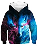 KIDVOVOU Boys Girls 3D Print Graphic Sweatshirts Long Sleeve Cotton Pullover Hoodies with Pocket,Blue Wolf,12-14 Years
