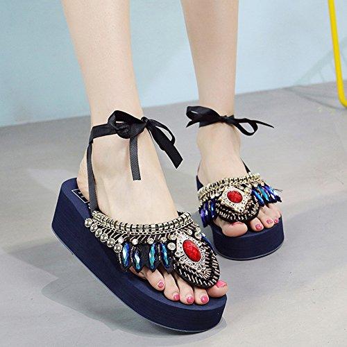PENGFEI Zapatillas Pantofola Verano Hembra Cuña Vendajes Retro Clip De Punta Playa Estilo Nacional, 5 Colores (Color : Negro, Tamaño : EU37/UK5/US6.5/235) Azul