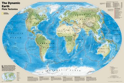National geographic dynamic earth plate tectonics world map national geographic dynamic earth plate tectonics world map educational maxi poster print 56x91 gumiabroncs Images