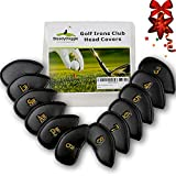 SteadyDoggie Golf Club Headcovers Set of 12 PU Leather Golf Iron Club Covers