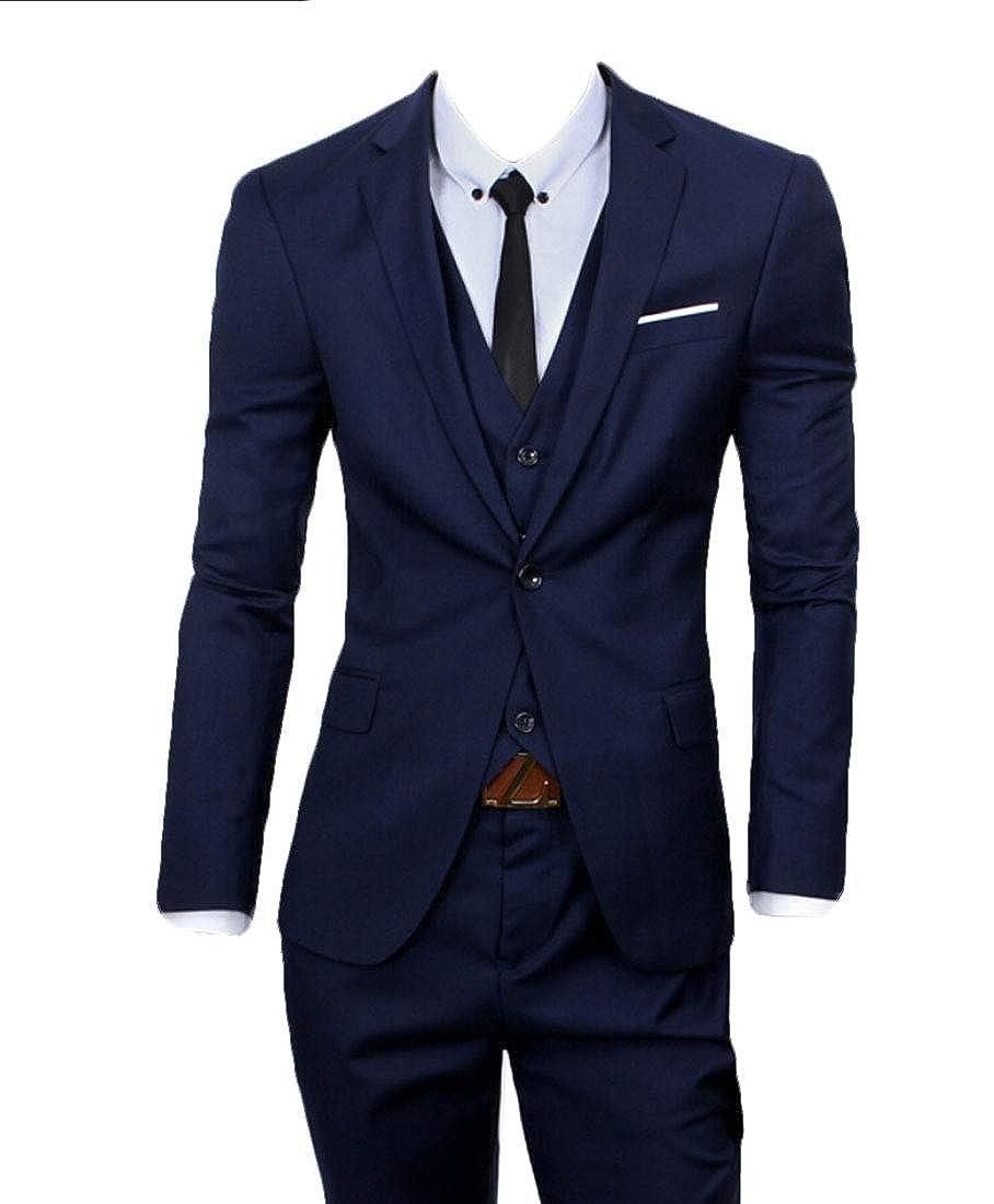 Men's 3-Piece Suit 2 Buttons Solid Color Jacket Smart Wedding Formal Suit