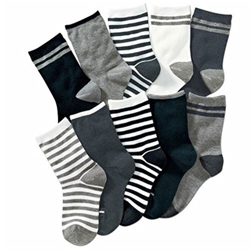 Kids Boys Striped Cotton Short Crew Socks Assorted 10-Pack (8-12 Years, Striped 1)