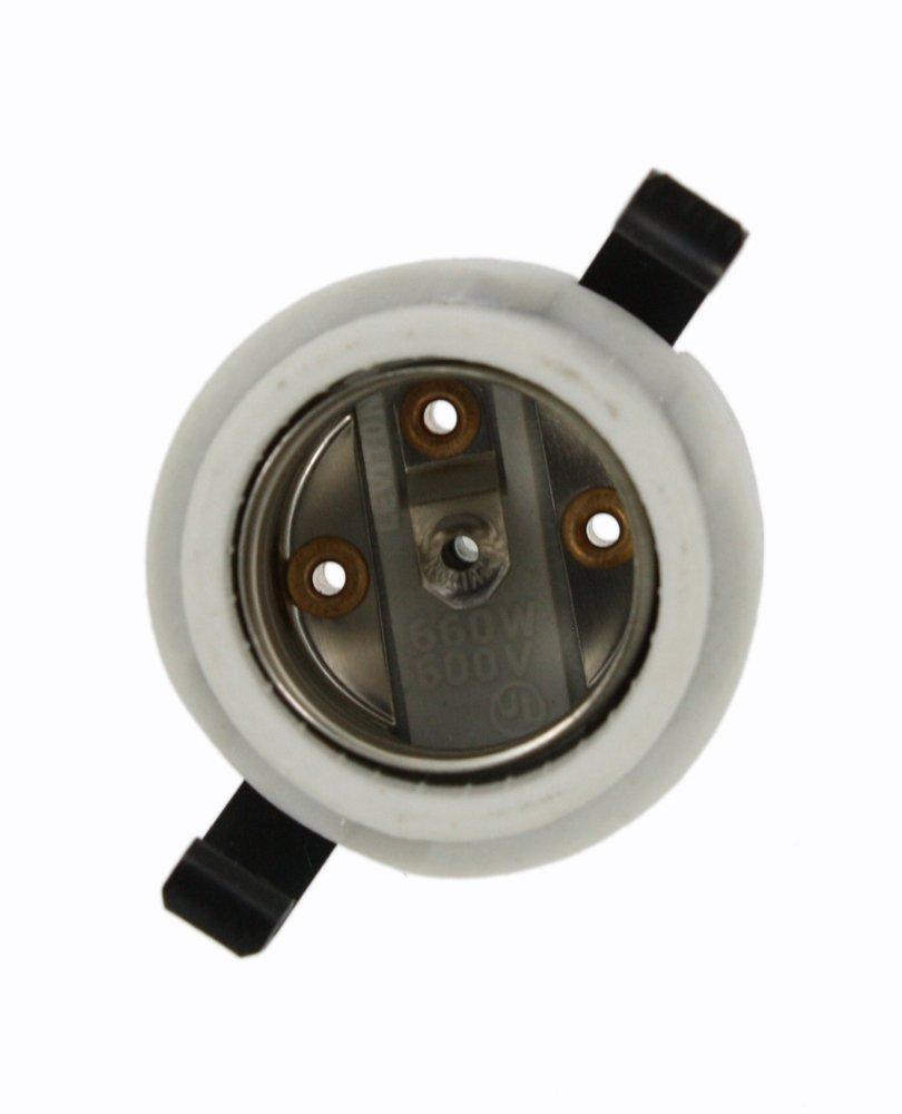 Leviton 8885 Incandescent Lampholder, Porcelain, Medium Base, 660W-600V, Snap-in, White