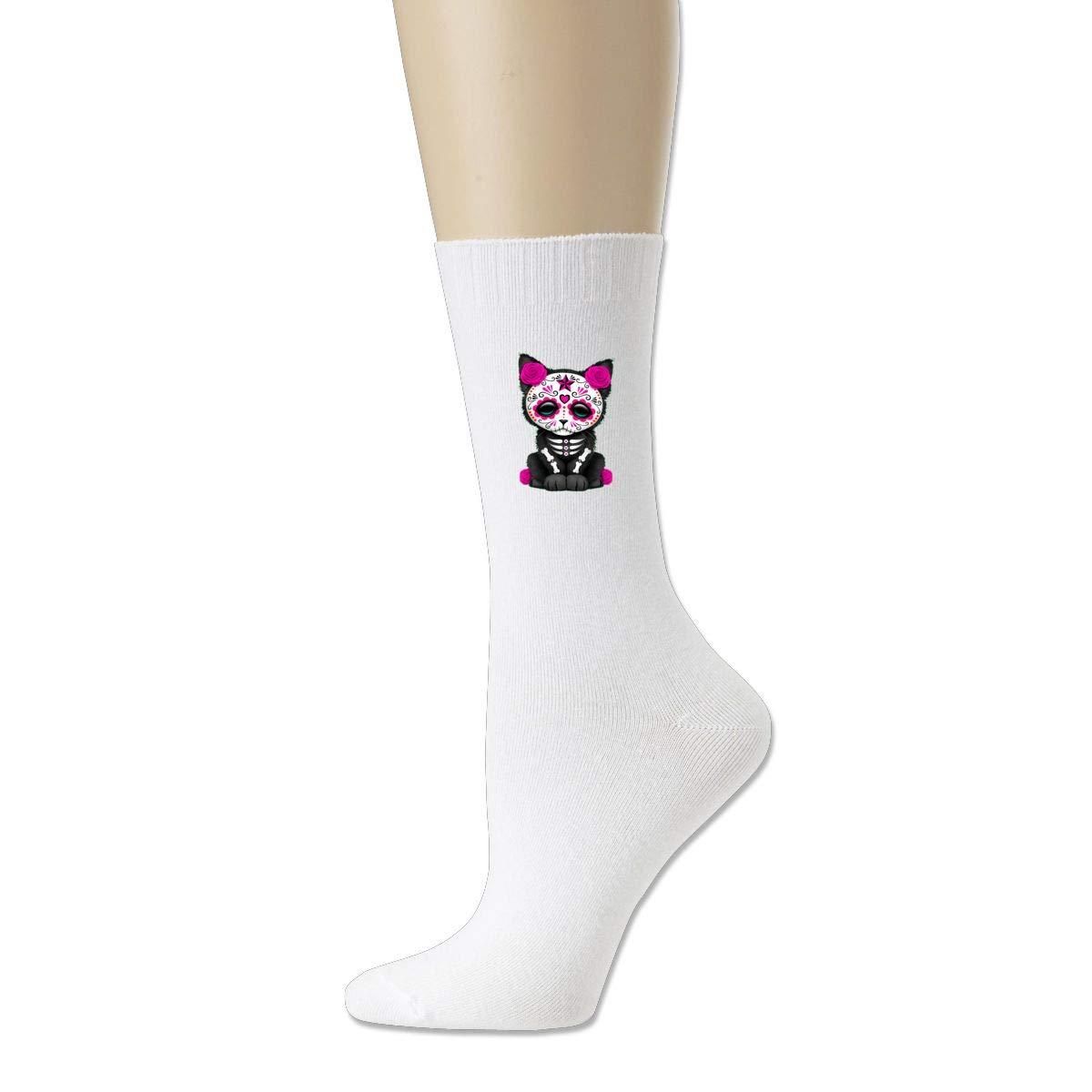 Rigg-socks Cute Red Day Of The Dead Kitten Cat Mens Comfortable Sport Socks Black