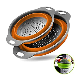 Collapsible Colanders with Handles with Extendable Handles Perfect for Draining Pasta Vegetable fruit 2 PC (Orange)