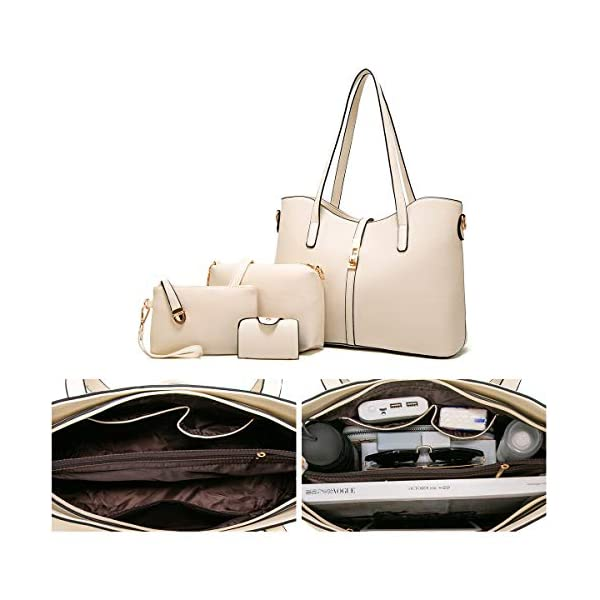 YTL Women Fashion Synthetic Leather Handbags+Shoulder Bag+Purse+Card Holder 4pcs Set Tote