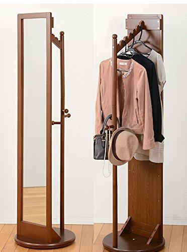 ミラー 回転ミラー スタンドミラー ハンガーミラー 鏡 姿見 一面鏡 ハンガーラック 収納 衣類収納 省スペース コンパクト 高さ170cm おしゃれ (ダークブラウン) B07DBLSWQ6 ダークブラウン ダークブラウン