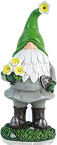UAMSTYLE Garden Gnome Statue - Resin Gnome Figurine Holding Flower with Solar LED Lights,Funny Outdoor Dwarf Decorations for Home Patio Yard Lawn Porch, Ornament Gift(13 Inches Tall)