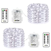 Homestarry 2 Set Fairy Lights 8 Modes String Lights Battery Operated Twinkling 66 LED Fairy String Lights 16.4FT Copper Wire Firefly Lights Remote Control for Bedroom Wedding Festival Decor(Cool White)