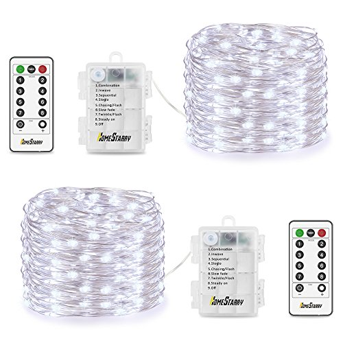 Homestarry 2 Sets Fairy String Lights Battery Operated Waterproof 8 Modes, Firefly Remote, Bedroom, Patio, Decor Christmas, 16.4 ft 66 LED's, Cool White