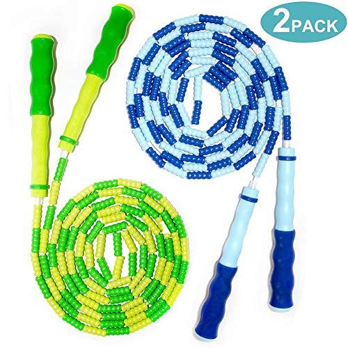 Homello Adjustable Skipping Rope Soft Beaded Segment Jump Rope for Kids - 7.5 Ft (Blue & Green, 2 Pack)