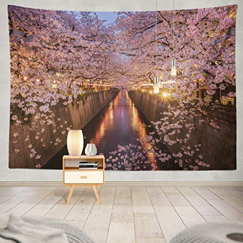 KJONG Cherry Blossoms River Tokyo Japan Japan Blossom Cherry Tokyo River Sakura Tunnel Spring Nature Travel Tree Decorative Tapestry,60X60 Inches Wall Hanging Tapestry for Bedroom Living Room