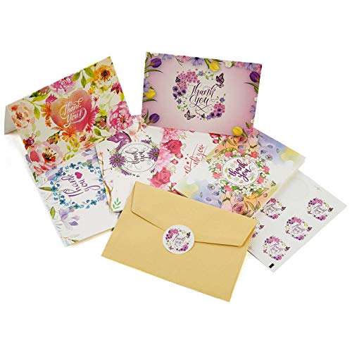 54 Floral Thank You Cards - Watercolor Bulk Notes Card - Papyrus Rustic Postcards Blank Inside with Envelopes for Engagement Wedding Cute Baby Shower Bridal Baptism Birthday Girl Small Funeral Note