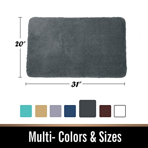 -[ mayshine® Bath Mat Bathroom Rug Non-slip Machine washable Soft Microfiber 50x80 cm Dark Grey