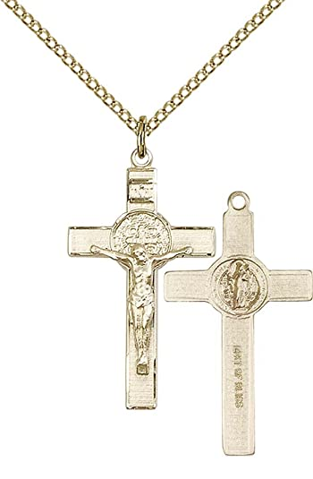 14kt Gold Cross Medal Includes deluxe flip-top gift box Medal//Pendant measures 1 1//8 x 5//8