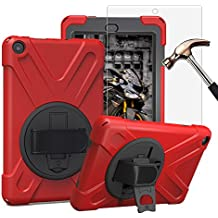 Gzerma Fire HD 8 Case with Screen Protector 2017, 3in1 [Kid Proof] [Shock Proof] Rugged Heavy Duty Defender Protective Cover, Kickstand, Hand Strap for Amazon Fire HD8 Tablet 7th Generation, Red