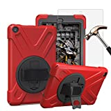 Gzerma Case for Fire HD 8 2016 Tablet (Previous 6th Generation) - Full Body Rugged Cover for Kids with Fire HD8 Screen Protector, Kickstand, Hand Strap, (NOT FIT the Latest 7th Gen 2017 Tablet), Red