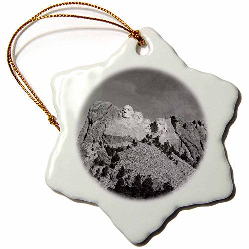 3dRose ORN_146486_1 Mt Rushmore National Memorial, South Dakota, USA Us42 Wbi0004 Walter Bibikow Snowflake Ornament, Porcelain, 3-Inch