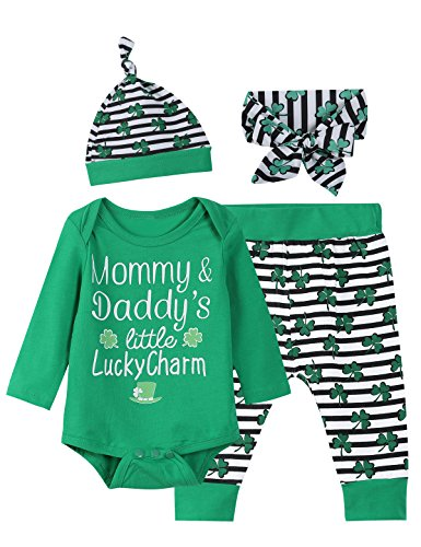 Paddy Field Baby Boys Girls Outfit Set ST Patrick's Day Long Sleeve Clothes Bodysuit (Green, 0-3 Months)
