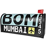 NEONBLOND Airport Code BOM/Mumbai Country: India Magnetic Mailbox Cover Custom Numbers