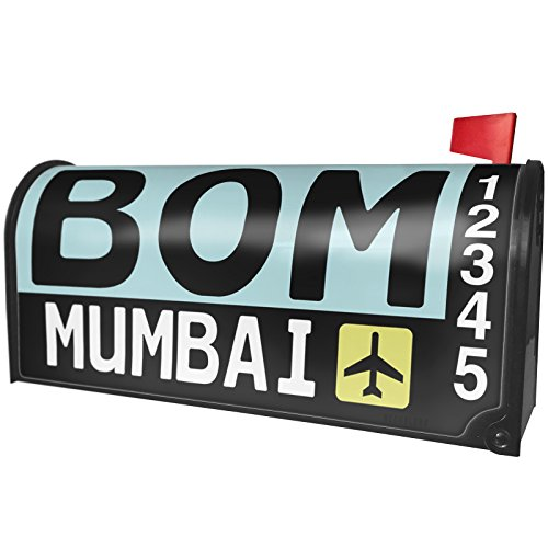 NEONBLOND Airport Code BOM/Mumbai Country: India Magnetic Mailbox Cover Custom Numbers by NEONBLOND