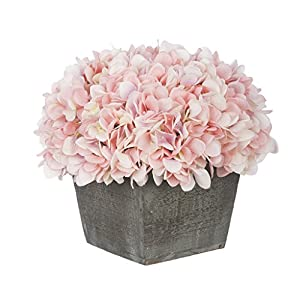 House of Silk Flowers Artificial Hydrangea in Grey-Washed Wood Cube 16