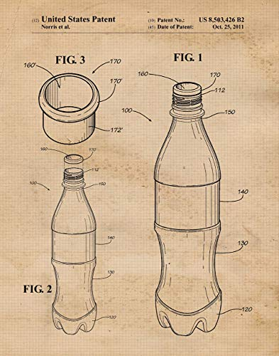 Original Coke Coca Cola Bottle Design Patent Art Poster Print - Set of 1 (One 11x14) Unframed - Great Wall Art Decor Blueprint Gift for iconic beverage fans, Home, Office, ()