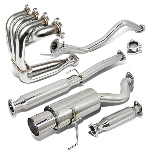 Honda Air Manifold - Stainless Steel 4.5 inches Muffler Tip Exhaust Catback+Header Manifold+Pipe for Honda Civic 96-00 Hatchback
