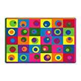 Flagship Carpet Children Learning Floor Playmat Nylon Silly Circles - 6' x 8'4""