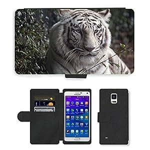 CARD POCKET BOOK CASE PU LEATHER CASE // M00148084 Tiger White Tiger Cat Fur Vida // Samsung Galaxy Note 4 IV