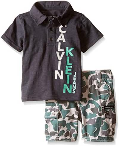 Calvin Klein Baby Boys' Gray Jersey Polo Shirt and Camo Twill Shorts
